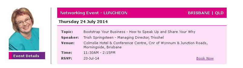 What's On At Trischel July 2014 – Public Speaking, Leadership, Communication, Personal Development